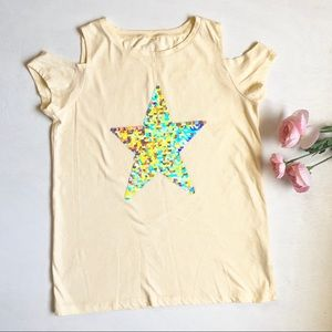 Children's Place pastel yellow sequins star top
